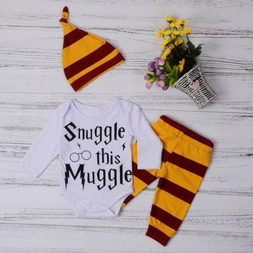 Snuggle This Muggle Harry Potter Inspired Baby Infant Onesuit Outfit Set 3-18 Months