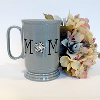 Unique Mom Coffee Mug Painted with  beautiful Rhinestone Jewel  Mothers Day gift