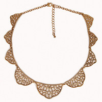 FOREVER 21 Standout Filigree Bib Necklace Gold One