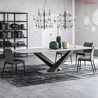 Contemporary Marble Dining Table With Metal Base