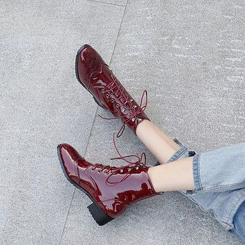 Round Toe Patent Leather Lace Up Women's Ankle Boots
