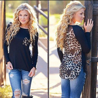 SIMPLE - Popular Fashionable Chiffon Knit Long Long Sleeve T-shirt b2184