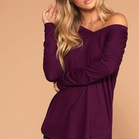 Missy Plum Long Sleeve V-Neck Top