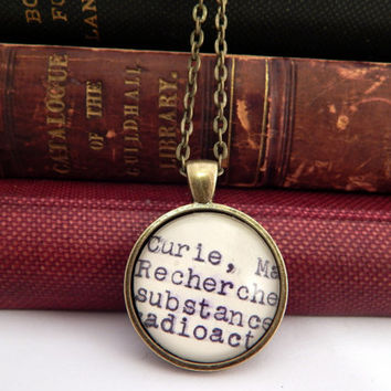 Gifts under 20, Marie Curie necklace, scientist jewelry, science lovers gift, book necklace, female scientists, science major gift
