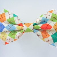 Colorful Argyle - Dog or Cat Handcrafted Slide-on Bow Tie Collar Accessory (Collar Not Included)