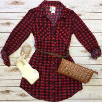 You Plaid me at Hello Belted Tunic: Red/Navy