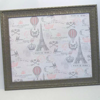 Parisian Stamp Pink & Gray fabric Pewter Framed Push Pin Bulletin Board
