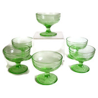 Vintage Hazel Atlas Depression Glass Green Cloverleaf Champagne or Tall Sherbet Set of 6 Mint