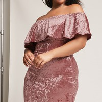 Plus Size Velvet Off-the-Shoulder Dress