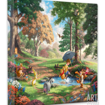 Winnie the Pooh I (Puddle Jumping) Stretched Canvas Print by Thomas Kinkade at Art.com