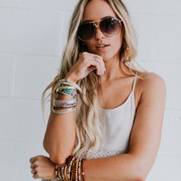 High Vibe Studded Tinted Aviator Sunglasses - Gold