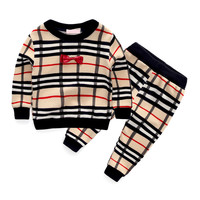 spring fashion plaid baby boys clothing sets bow tie style long sleeve + pants suits for infant boy clothes tracksuits