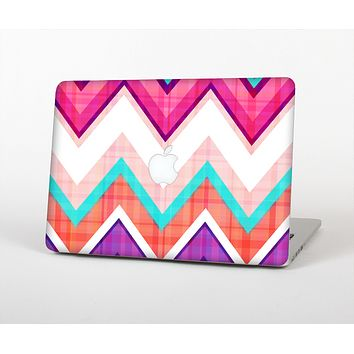 The Vibrant Teal & Colored Chevron Pattern V1 Skin Set for the Apple MacBook Pro 13""