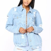 Valarie Distressed Denim Jacket - Light Wash
