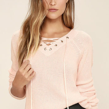 Welcome Home Peach Lace-Up Sweater