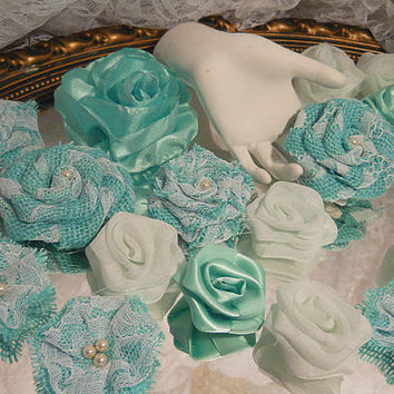 Bulk SALE, Lot of 24 Aquamarine Turquoise & Light Mint Flowers for diy weddings, bouquet making, birthdays, cake toppers. Ready to Ship!