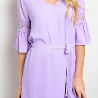 Lavender Ruffled Sleeve Dress with Lace Trim