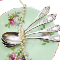 Set of 4 1847 Rogers Old Colony Teaspoon Set, Triple Silver Plated, Shabby Chic Spoons, Vintage Tea Party, Housewarming Gift for Her