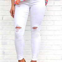 White Out Distressed Skinny Jeans