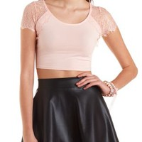 Lace Shoulder Crop Top by Charlotte Russe
