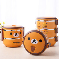 1-4 Layer Cute Cartoon Bear Lunch Box For Kids With Plastic Tiffin Boxes Thermal Bento For School Students In Tableware