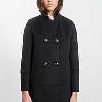 FOREVER 21 Double-Breasted A-Line Coat Charcoal/Black