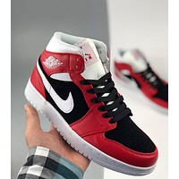 Nike Air Jordan 1 Mid Black and White Red Little Chicago Casual Sneakers