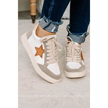 Irene Star Beige Lace Up Tennis Shoes