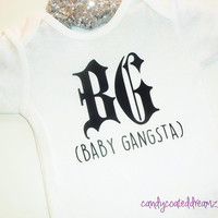 BG BABY GANGSTA funny baby Onesuit or T-shirt baby newborn gift hip shirt clothes infant trendy 2015