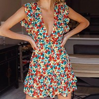 Plunging Tied Backless Ruffle Trim Floral Print Dress
