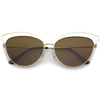Women's Open Metal Frame Slim Temple Oversize Cat Eye Sunglasses 58mm