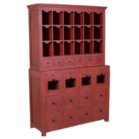 Post Office Inspired Cabinet, Red Antique Distress