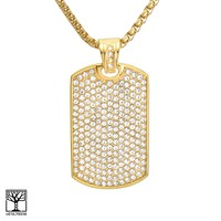 Jewelry Kay style Men's Gold Plated Stainless Steel CZ Dog Tag Pendant Chain Necklace SCP 582 G