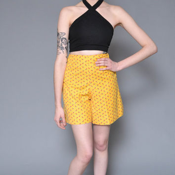 70s High Waisted Shorts S M Tulip Floral Printed Yellow Red Ditsy CUTE Flared Hippie Boho Linen Culottes Mini Shorts