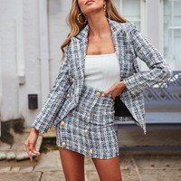 Office ladies plaid blazer jacket Buttons double breasted tweed female blazers work wear women coats
