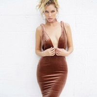 Sexy Backless Gradient Suede One Piece Dress [11739581007]