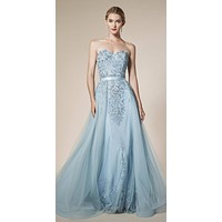 Andrea & Leo A5081 Strapless Long Prom Dress with Cape Skirt Dusty Blue