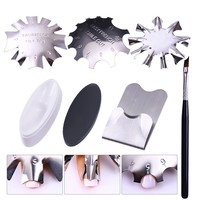 French Dip Nail Container Powder Dipping Tray Nail Tips Mold Guides Manicure Nail Art Tool Tips Brush Easy French Cutter Sticker