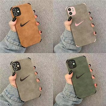 2021 Nike Apple 12 mobile phone case for men and women iPhone11 all-inclusive 7p/8plus flannel all-inclusive X/XR protective shell