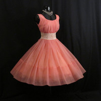Vintage 1950's 50s Bombshell Coral PINK Salmon by VintageVortex