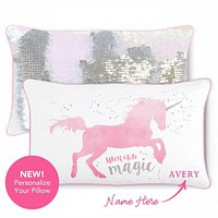 MAGICAL Unicorn Pillow Cover w/ Reversible Iridescent & Silver Sequins