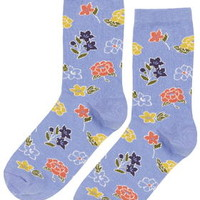 Mixed Floral Ankle Socks - Blue
