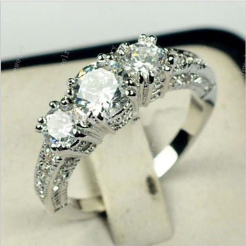 White Gold Filled Zircon 10KT White Sapphire Wedding ring = 1933175492
