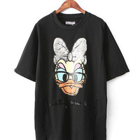 Black Sequined Mickey Mouse Short Sleeve T-Shirt