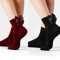 Fashion Women Cotton Socks With Big Bow Colorful Casual Kawaii Knot Socks Girl Cute BowKnot Chausette Femme Funny Ankle Socks