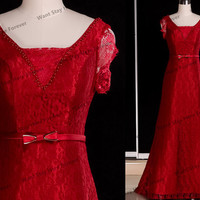 Red beautiful lace long prom dresses,lace prom dresses,lace bridesmaid dresses,lace evening dresses,lace prom dress,prom dresses,lace dress