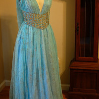 Daenerys Qarth Blue and Gold Gown Dress Costume Custom Replica Belt Game of Thrones Khaleesi Targaryen Season 2 Geek Chic Wedding