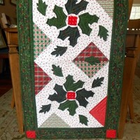Holiday Quilted Table Runner With Applique and Homespun Fabrics