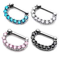 16 Gauge Crystal Jewel Septum Clicker Nose Ring Surgical Steel Prong Set Hoop - Pink, Clear, Black, Turquoise - Sold Individaully-SEPT61061C - 10x6 Diameters Full Jewel (Pink)