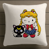 hello cat and hello sailor moon Square Pillow Case Custom Zippered Pillow Case one side and two side
